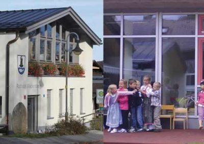 Energetische Sanierung des Kindergartens und Rathauses mit Erweiterung um eine Kindergrippe in Oberfischbach, Wackersberg; Bauherr: Gemeinde Wackersberg