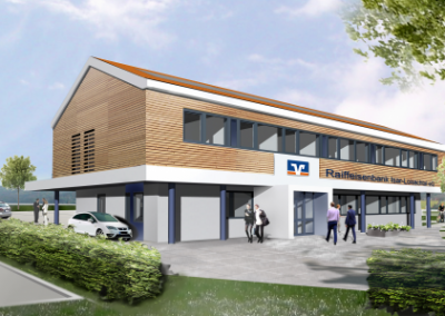 Neubau der Geschäftsstelle der Raiffeisenbank Isar-Loisachtal eG in Straßlach